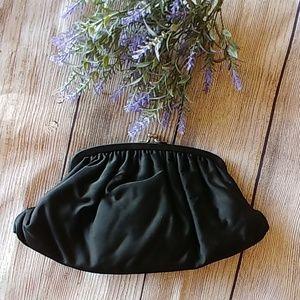 Vintage 50's Black Satin Clutch